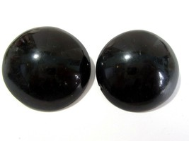 BLACK PLASTIC LUCITE CLIP ON EARRINGS DOMED LARGE ROUND VINTAGE - $15.00