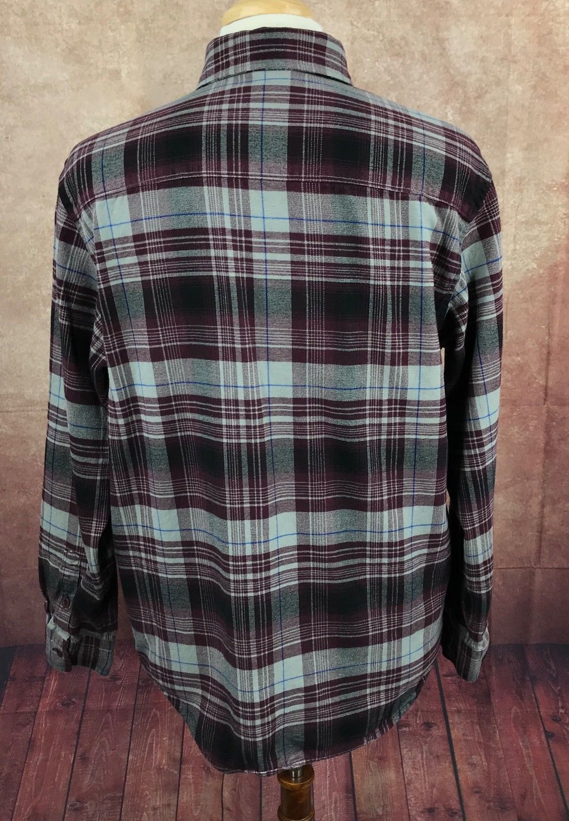 4ab1628b Nike 6.0 Button Front Long Sleeve Flannel Burgundy Plaid Shirt Men's L