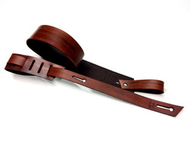 Guitar strap - Blackened Orange Leather - Hand ... - $75.00