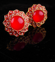 Red Clip on earrings - 80 sparkling rhinestones - LARGE earrings - Unsig... - $55.00
