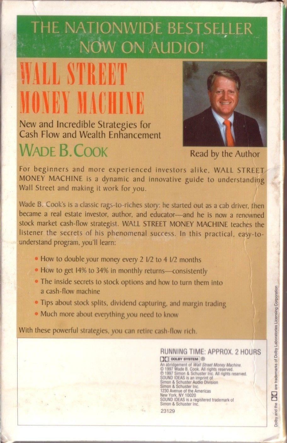 Wall Street Money Machine Cassettes W. Cook Incredible Strategies for Cash Flow