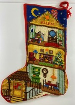 Vintage Needlepoint Christmas Handmade 15 in House Stocking ELLEN - $24.74