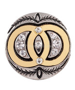 Gold Vesica Piscis Clear Rhinestone 20mm Snap Charm For Ginger Snaps Jewelry - $6.19
