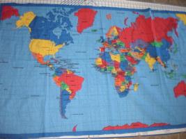 World Map Globe Geography Cotton Wall Craft Fabric Panel 1999 Fabric Traditions  - $19.95