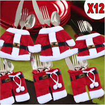 NEW 12PCS Table Silverware Santa Pockets Holders Christmas Xmas Decorati... - €4,87 EUR