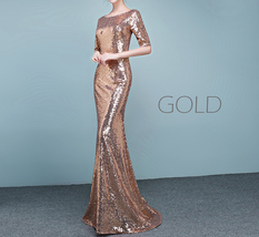 Half Sleeve Fit Gold Maxi Sequin Dress Wedding Party Maxi Gold Sequin Dress Gown image 11