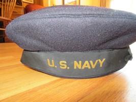 8O/WWII U.S. NAVY FLAT HAT/7 1/8/BOURONICH E.R. 419H/WOOL! - $148.45