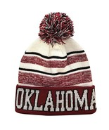 Oklahoma Men's Blended Stripe Winter Knit Pom Beanie Hat (Maroon/White) - $13.75