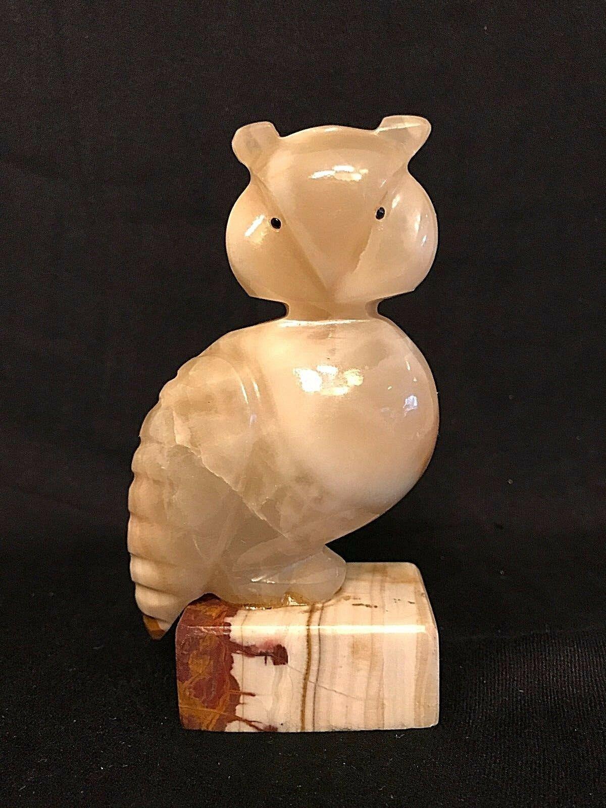 ALABASTER OWL Sculpture, Hand Carved, Mid Century, VINTAGE