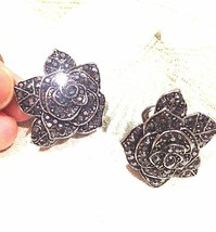Vintage Silver Hematite Austrian Crystal Rose Flower Button Clip On Earr... - $51.47