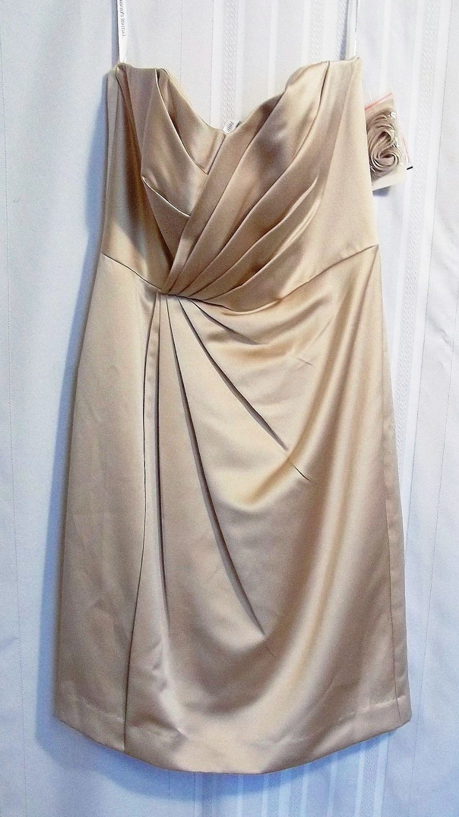 Primary image for NWT David's Bridal Short Strapless Satin Dress w/ Pleating Size 8 Nice
