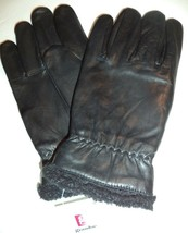 Men's Faux Shearling Cuff Genuine Leather Gloves, Small, Black - $36.38