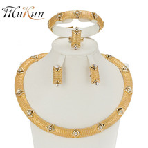 MUKUN 2017 Charm Gold color Jewelry Sets For Women African pendant Necklace Long - $21.95