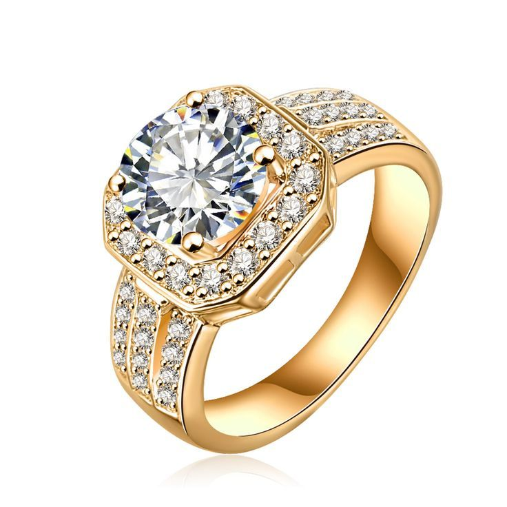 Primary image for Women's Halo Bridal Engagement Ring 14k Yellow Gold Over 925 Silver Round Cut CZ