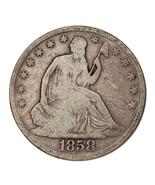 1858-O Silver Seated Liberty Half Dollar 50C (Good, G Condition) - €48,63 EUR