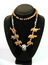 WOODEN ANIMALS Fetish NECKLACE Vintage Wood Beads Black Giraffe Zebra Li... - $16.99
