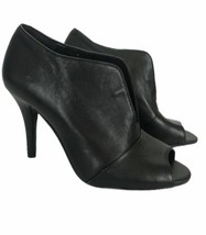 Nine West Womans Heels Size 6.5M Black Soft Leather Open Round Toe 3.5 Heel - $31.74