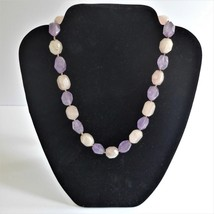 Amethyst Rose Quartz Necklace Chunky Polished Stone Pink Purple Fluorite - $19.79