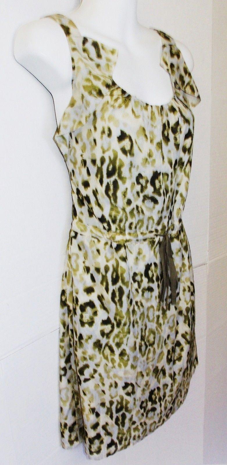 Ann Taylor LOFT  Size 2  Olive Green Animal Print Silky Dress w/Ruffles