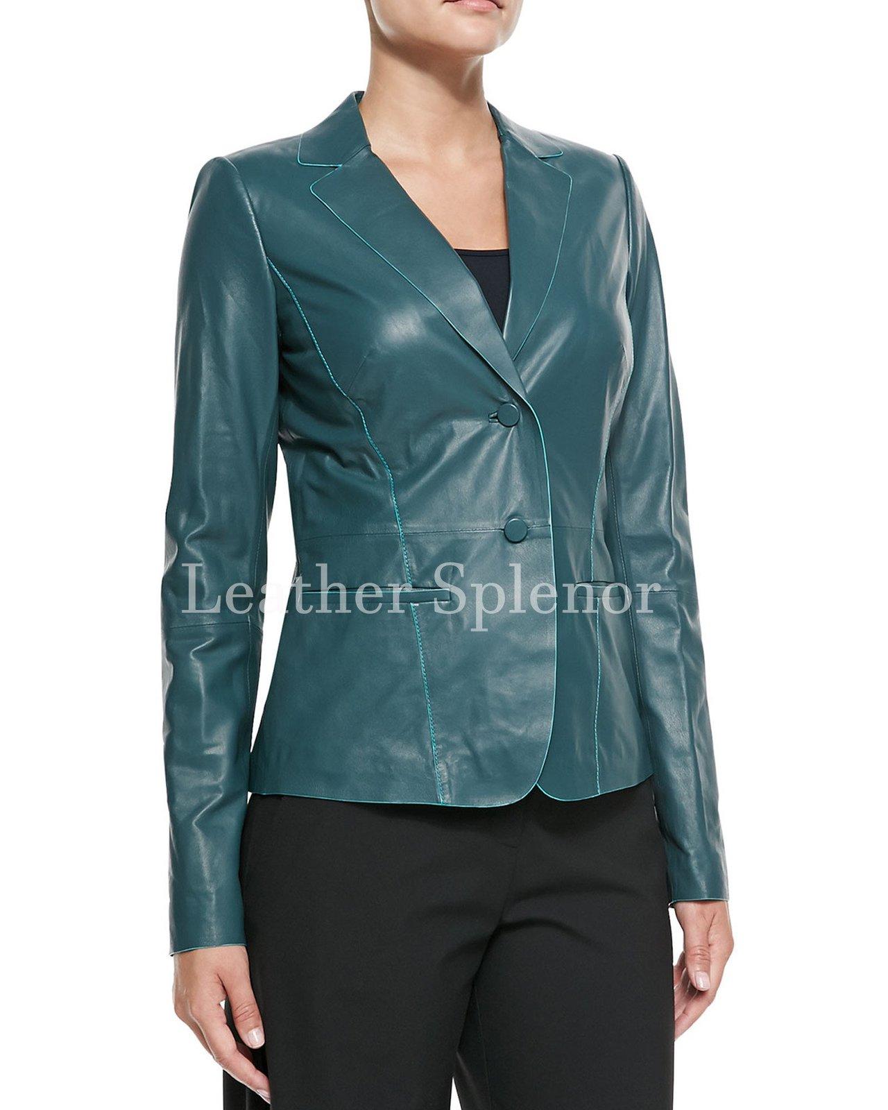 Two Button Women Leather Blazer