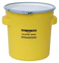 Eagle 1654 Yellow Blow-Molded HDPE Salvage Drum with Metal Ring Lever-Lo... - $46.32