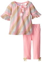 Bonnie Jean Baby Girl 3M-24M Lurex Knit Bias Stripe Dress/legging Set