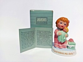 Avon Tender Memories Collection 1990 God Bless My Dolly Figurine With Box - $14.20