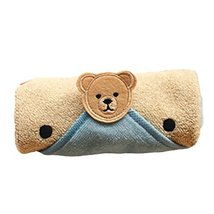 Set of 2 Lovely Catoon Bear Cotton Baby Washcloths Soft Portable Facecloths,Blue