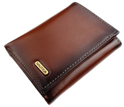Nautica Men's Leather Credit Card Passcase Wallet Trifold Tan 31NU11X017