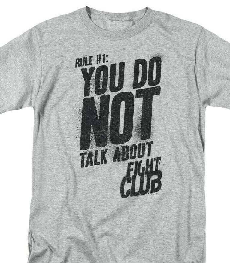 Fight club t shirt first rule retro 90s movie graphic printed sports gray tee