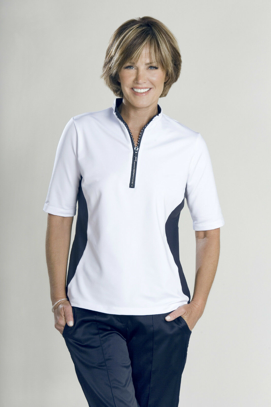 Stylish Women's Golf & Casual White Short Sleeve Mock Polo, Rhinestone Zipper