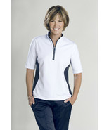 Stylish Women's Golf & Casual White Short Sleeve Mock Polo, Rhinestone Z... - $29.95
