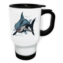 Shark and Blood New Beautiful design in Blue White/Steel Travel 14oz Mug aa855t - $21.77