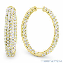 6.01 ct Round Brilliant Cut Diamond Pave Oval Hoop Earrings in 18k Yellow Gold - $9,167.39