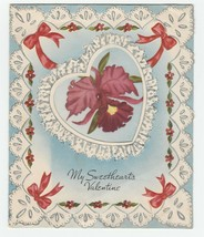 Vintage Valentine Card Orchids Printed Lace Heart A-Meri-Card 1940's - $6.92