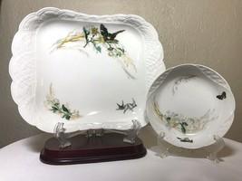 """Antique 1876-1880 H & Co Haviland Limoges France 11"""" Dresser Tray & Bowl Set 2PC - $218.00"""