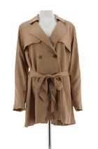 Isaac Mizrahi Double Breasted Draped Trench Coat Medium Camel 8 NEW A278852 - $63.34