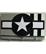 (1944) U.S. Grey Military Aircraft Insignia with Invasion Stripes Keycha... - $17.77