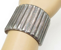 MEXICO 925 Silver - Vintage Large Dark Tone Fluted Cuff Bracelet - B5309 - $172.88
