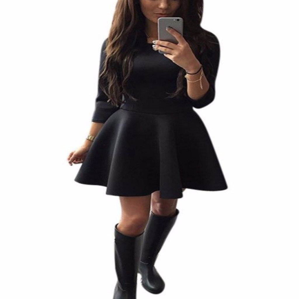 Womens Quarter Sleeve Pleated Skater Skirt