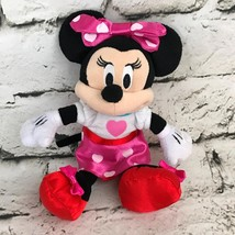 Disney Minnie Mouse Plush Doll Pink Polka Dot Heart Stuffed Animal Soft Toy - $9.89