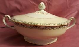 Noritake MYSTERY #14 Pattern White Rose Leafy Band COVERED CASSEROLE Bowl - $15.00