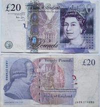 Bank of England 20 Pounds Banknote Circulated - $34.95