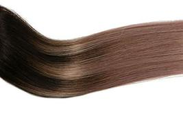 Tape In Hair Extensions Human Hair Balayage Ombre Hair 20pcs/50g Per Set Dark Br image 5