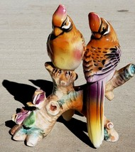 Vtg 50s Ucagco Porcelain Waxwing Bird Figurine Flowers Branch Japan Ceramic - $22.75