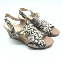 Cole Haan Womens Wedge Sandals Slingback Snake Print Leather Open Toe Beige 6.5 - $48.37