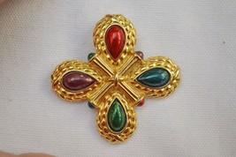 Vintage maltese cross brooch by Liz Claiborne enamel multicolor goldtone... - $26.72