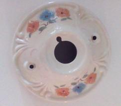 1940's Blue And Orange Floral Decoration Ceiling Light Fixture Porcelain  - $23.38