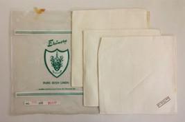 "SET vintage 3pc UNUSED ERINORE IRISH LINEN NAPKINS ireland 17""x17"" emera... - $24.95"