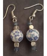 Blue Flower Ceramic Bead Handmade Earrings  - $5.99